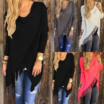US Womens Loose Long Sleeve Cotton Casual T-Shirt Tunic Tops Blouse D0