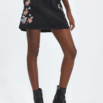 MOTO Embroidered Denim Skirt | Topshop