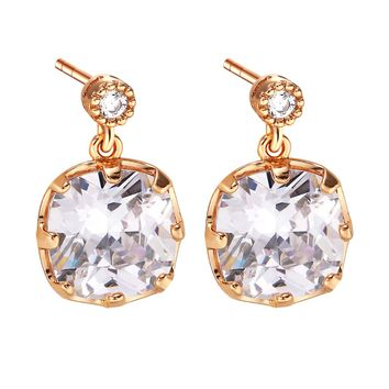 Fancy Amazing Large Stud Style Magical Lucky Charms Gold-Tone White Crystals Amulet Earrings