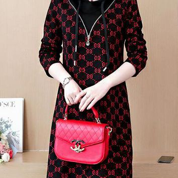 GUCCI Autumn Winter Trending Women Stylish Print Velvet Long Sleeve Hoodie Dress Black/Red