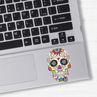 Mexican Sugar Skull Laptop Sticker - Vinyl Bumper Sticker Laptop Mobile Decal Day of the Dead Dia de los Muertos Decorative Flower Calavera