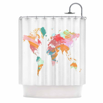 "Chelsea Victoria ""Wild World"" Travel Painting Shower Curtain"