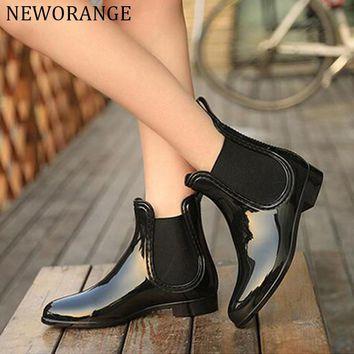 Rubber Boots 2017 Waterproof Trendy Jelly Women Ankle Rain Boot Elastic Band Solid Col
