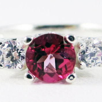 Pink Topaz and White CZ Three Stone Ring Sterling Silver, Pink Topaz Engagement Ring, Pink Topaz Ring, 925 Ring