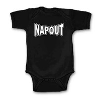 Free Shipping - Napout - Black Unisex One Piece Creeper or T-Shirt