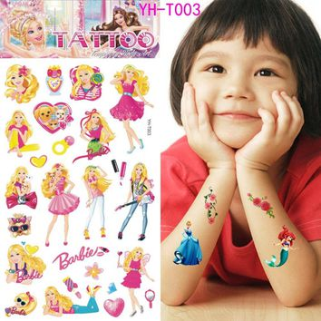 Lovely children fairy tale Snow White Flash temporary tattoo body art cute cartoon stickers for children 21*10cm free shipping