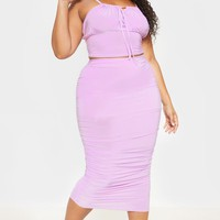 Plus Lilac Slinky Ruched Midi Skirt
