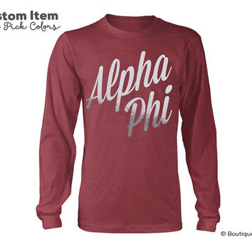 Alpha Phi Script Sorority Long Sleeve Tee