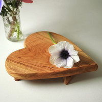 Heart Shaped Serving Tray Rustic Cheese Board Cherry Footed Platte Organic Mother's Day Gift