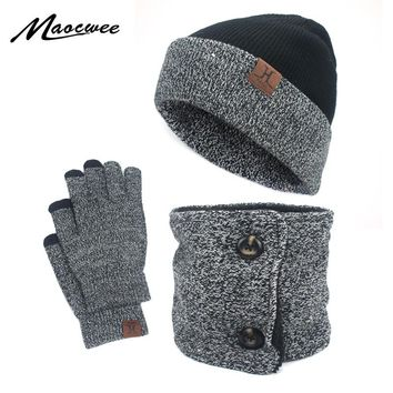 3 Pcs Unisex Men Women Knit Hat Scarf Touch Screen Gloves Warm Winter Set Solid New Winter Hats Balaclava Mask