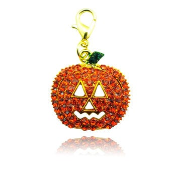 Free shipping New Halloween arrival floating charms Rhinestone Pumpkin origami owl core charms for necklace & pendant DZ1441