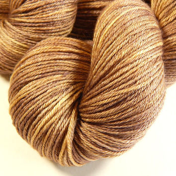 Hand Dyed Yarn - Fingering Weight Silk/Merino Wool Yarn - Potluck Cocoa - Knitting Yarn, Sock Yarn, Wool Silk Yarn - Limited Edition, Brown