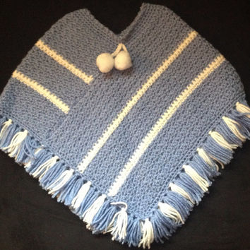 Blue and White Crochet Toddler Poncho