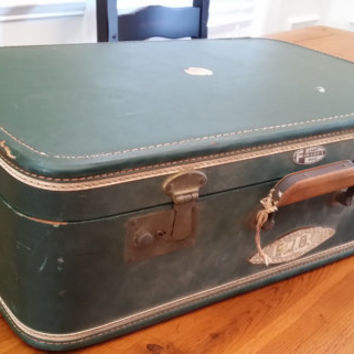 Vintage Green Lady Gale Fam-Lines Luggage Hardside Suit Case Great Retro Travel Style Decor Day Trip Upcycle Repurpose