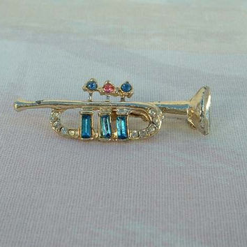 Jeweled Horn Trumpet Pin Blue Pink Rhinestones Vintage Musical Jewelry