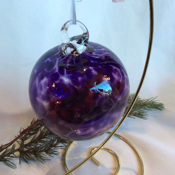 Hand Blown Glass Christmas Ornament / Witch Ball in Purple