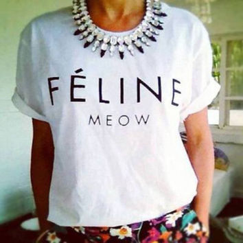 FELINE MEOW Women's Casual White & Black T-Shirt