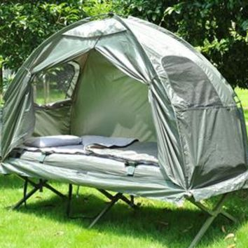 Outsunny Single Dome Tent with Camping Cot and Sleeping Bag