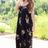 Betty Black & Floral Over-Size Maxi Dress