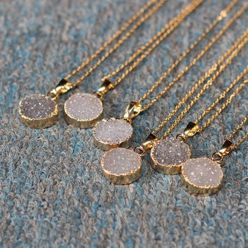 Round Agate Druzy Necklace Handmade Drusy Geode Necklace wedding party birthday jewelry DJ-1