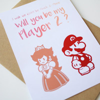 Love Card Mario and Peach Watercolor and Foil Will you be My Player 2 ?