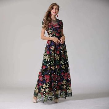 Womens Patchwork Gauze Embroidery Appliques Sleeveless Charming O-Neck Floor Maxi Dress