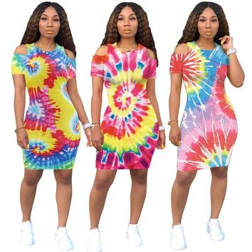 2019 women summer tie dye black hole print cut out shoulder o-neck bodycon midi mini dress office lady dresses 3 color GLA6206