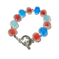 Red, White, Blue and Silver Glass Beaded Bracelet, Fourth of July