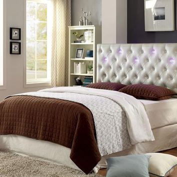 Reyza Contemporary Tufted LED King Leatherette Headboard in White