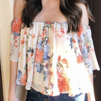 SONIA OFF THE SHOULDER FLOWER TOP