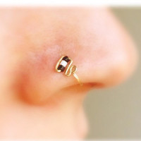 Black and white beaded nose ring, thin nose ring,  (24 and 22 gauge only)