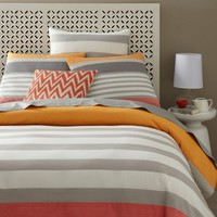 Color Block Stripe Duvet + Shams - Bergamot
