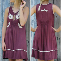 Santa Maria Burgundy Sleeveless Dress With Embroidered & Ruffle Details