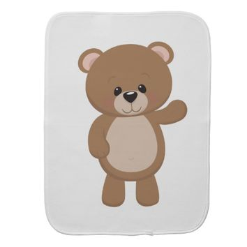 Cute Cartoon Brown Bear Burp Cloth