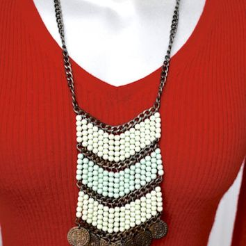 Two Tone Green Beaded Bib Gunmetal Boho Necklace Vintage
