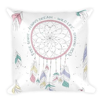 Reiki Charged Dream Catcher Throw Pillow 18 X 18 Filled Boho Chic Decor