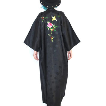 70s Gypsy Boho Black Embroidered Kimono Chinese Robe Slouchy Long Jacket Floral Birds Wide Sleeves (M/L/XL)