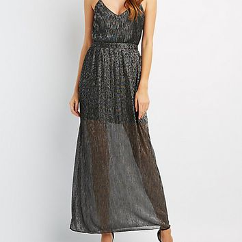 Shimmer Strappy V-Neck Maxi Dress