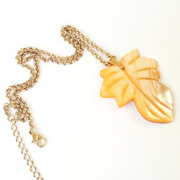Orange  Mother Of pearl Shell Leaf Gold Chain Necklace Fall Jewelry