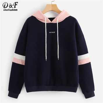 Dotfashion Navy Colorblock Striped Drawstring Hoodie Women Clothes Casual Long Sleeve Womens Sweatshirt Pullovers