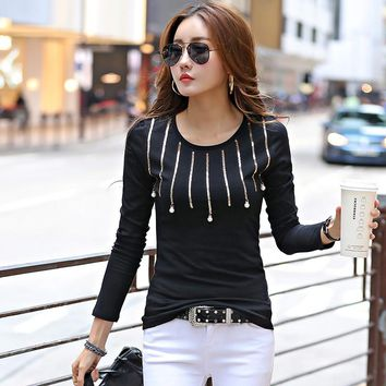 Fashion Beading Sequined T Shirts Women Long Sleeve Slim Basic Tees Tops Female All-Match Casual T-Shirts camisetas mujer 1588