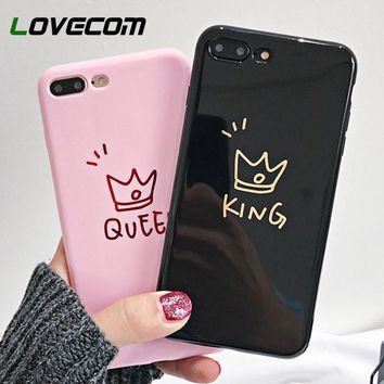 Trendy LOVECOM Phone Case For iPhone XS Max XR XS 6 6S 7 8 Plus X Couples Queen King Soft TPU Glossy Phone Back Cover Cases Coque! AT_94_13