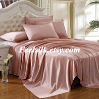 Free shipping 100% mulberry silk charmuse silk bedding flat sheet dark pink color twin full queen king size