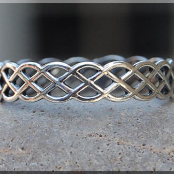 Open Weave Ring, Sterling Silver Stacking Ring, Woven Sterling Silver Ring, Woven Crown Ring, Weave Eternity Stacking Ring, Delicate ring