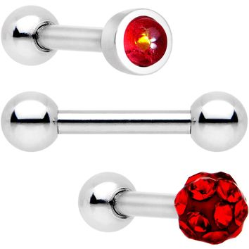 "16 Gauge 1/4"" Deep Red Faux Opal Inlay Cartilage Tragus Earring 3 Pack"