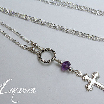Sterling silver cross & amethyst necklace by amaria on Etsy