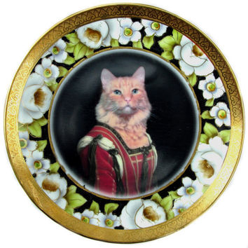 Portrait of Felis Catus   Altered Vintage Plate by BeatUpCreations