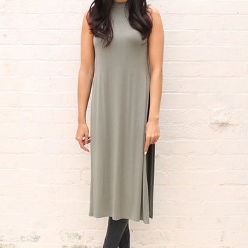 Side Split Longline Turtle Neck Vest Top in Khaki Green