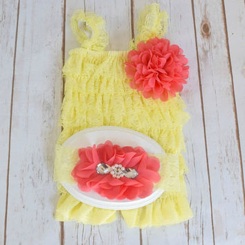 Yellow Romper, Cake Smash Outfit Girl, 1st Birthday Girl Outfit, Cake Smash Outfit, Baby Girl 1st Birthday Outfit, Baby Girl Romper, Romper