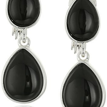 "Napier ""Shout Out Loud"" Silver-Tone and White Double Drop Clip-On Earrings"